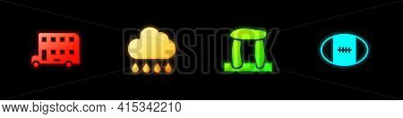 Set Double Decker Bus, Cloud With Rain, Stonehenge And Rugby Ball Icon. Vector