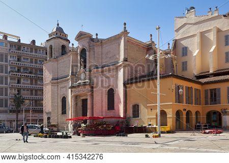 Toulon, France - March 24 2019: The Saint-françois-de-paule Church (french: Église Saint-françois-de
