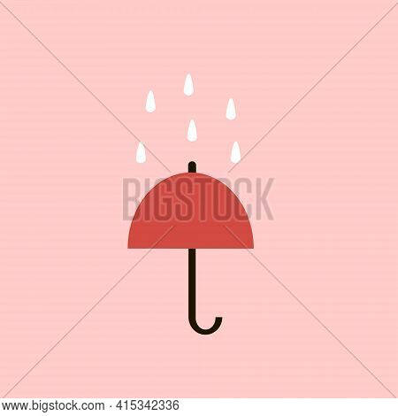 Red Umbrella Under Raindrops On A Pink Background.