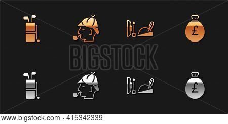 Set Golf Bag With Clubs, Sherlock Holmes, Robin Hood Hat And Money Pound Icon. Vector