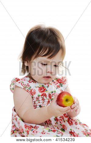 Little Girl Holds Apple
