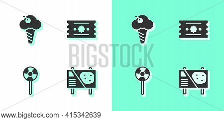 Set Amusement Park Billboard, Ice Cream In Waffle Cone, Lollipop And Ticket Icon. Vector