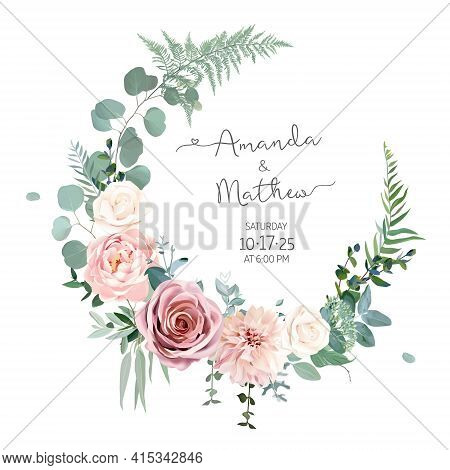 Greenery, Pink And White Peony, Rose Flowers Vector Design Round Invitation Frame