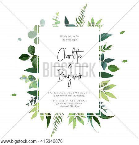 Greenery Botanical Wedding Watercolor Wildflowers Vector Invitation.