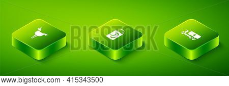 Set Isometric Pickled Cucumbers In A Jar, Tanker Truck And Cockerel Lollipop Icon. Vector