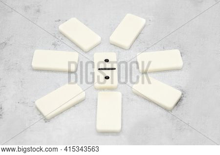 Pieces Of Dominoes Are Arranged In A Circle In The Center Of Dominoes With Two Ones. Logic Board Gam