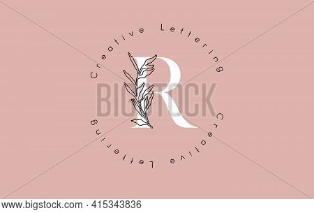 White Letter R Logo With Circle Lettering Design And Outline Leaves And Pastel Background. Creative