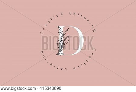 White Letter D Logo With Circle Lettering Design And Outline Leaves And Pastel Background. Creative