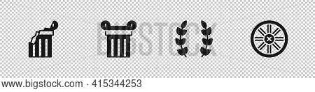 Set Broken Ancient Column, Ancient, Laurel Wreath And Old Wooden Wheel Icon. Vector
