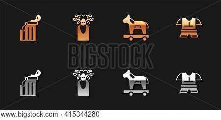 Set Broken Ancient Column, Medusa Gorgon, Trojan Horse And Body Armor Icon. Vector