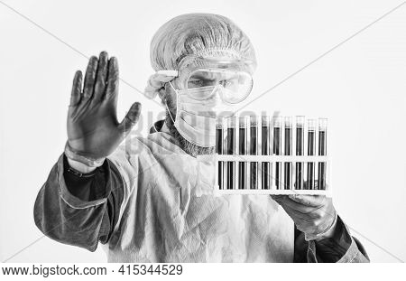 Scientist Test Tubes With Blood Samples. Coronavirus Vaccine. Doctor Protective Mask. Laboratory Tes