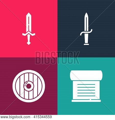 Set Pop Art Decree, Parchment, Scroll, Round Wooden Shield, Dagger And Medieval Sword Icon. Vector