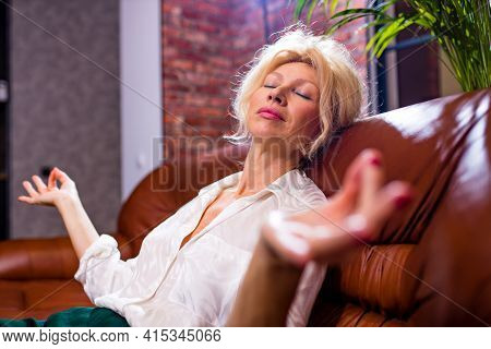 Gray-haired Peaceful Beautiful Woman Sleeping On Comfortable Couch At Home Breathing Fresh Air, Medi
