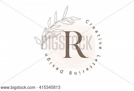 Letter R Logo With Watercolor Brush And Circle Lettering Design And Outline Leaves In Pastel Colors.