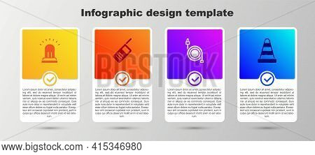 Set Ringing Alarm Bell, Walkie Talkie, Fire Hose Reel And Traffic Cone. Business Infographic Templat