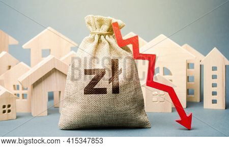 City Residential Buildings And Polish Zloty Money Bag With A Red Down Arrow. The Concept Of Low Cost
