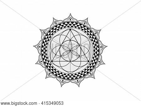 Flower Of Life Symbol Sacred Geometry. Lotus Round Logo Icon  Geometric Mystic Mandala Of Alchemy Es