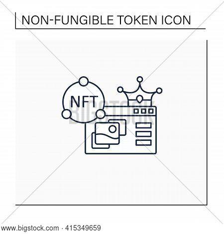 Nft Supermarket Line Icon.ability To Buy Non Fungible Tokens. Unique Digital Assets Market. Assets E