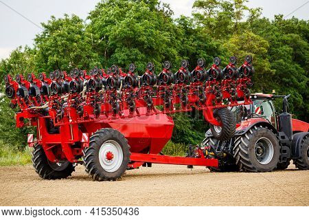 Large Modern Tractor For Sowing Grain. Agricultural Machinery