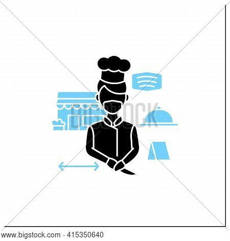 Worker Uniform Glyph Icon. Kitchen Stuff Making Food In Face Mask And Gloves.regulation Through Covi