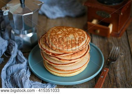 Breakfast. Pancakes With Coffee For Breakfast. Pancakes Are In A Stack. Maslenitsa. Homemade Fluffy