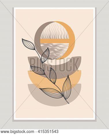 Botanical Prints Boho Vectorwall Art Trendy. Bohemian Style With Line Art Elements, Tropical Leaf, F