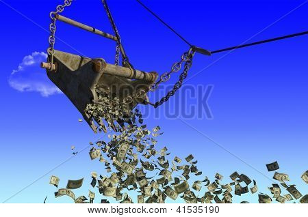 Banknotes of dollars are flying out of excavator bucket.