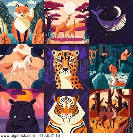 Collection Of Nine Hand Drawn Illustrations Of Animals And Nature. Beautiful Landscapes And Wildlife