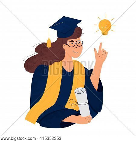A Girl Student In Gown And Mortarboard Holds A Diploma In Her Hand. Graduate. Class Of 2021. Great I