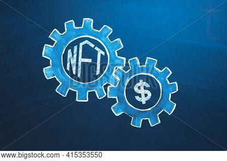 Nft Non-fungible Tokens Concept. Logo Nft And Usd In Gears. Blockchain Technology To Create Unique D