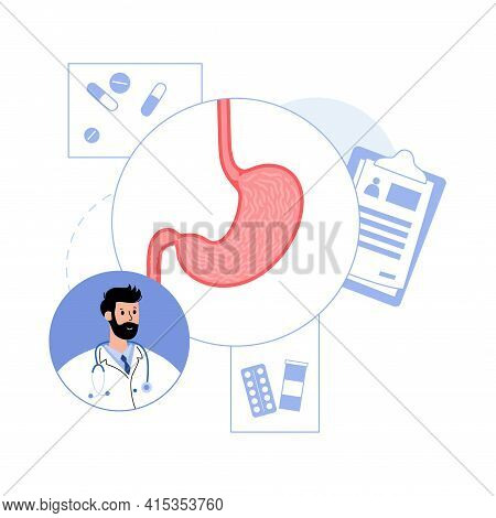 Stomach Logo For Clinic. Medical Appointment With A Doctor Gastroenterologist. Human Internal Organs