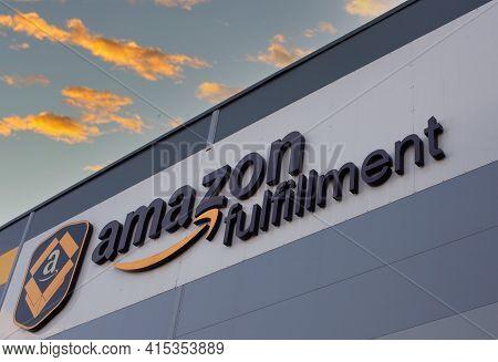 Poznan, Poland - April 02, 2021: Amazon Logistics Center, Distribution And Distribution Warehouse By