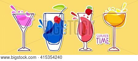 Summer Time Lettering, Tasty Alcoholic Cocktails Sticker Set. Various Colored Drinks. Mixed Drinks.