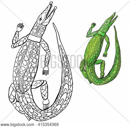 Crocodile Hand-drawn Isolated Image On A White Background, Contoured Black And White Crocodile Drawi
