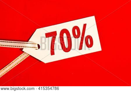Sale 70 Present - Text On White Label On Red Background, Information On Discounts And Sales For Supe