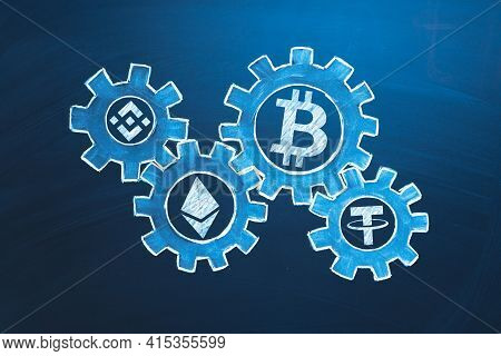 Cryptocurrency Economics Symbol. Altcoins In Gears. Crypto Market Exchange Concept. Investing In Cry