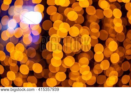 Abstract Circular Bokeh Background Of Christmaslight. Bokeh From Garlands. Background For Screensave