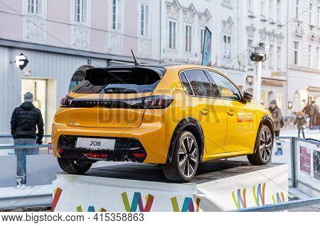 Wels, Austria - January 11th, 2020: Newest Peugeot 208 Gt-line 2020 Model Stand On Basement Among Pu