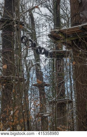 A Nice Picture Of The Climbing, Zip-line Forest Park On Neroberg, Wiesbaden, Germany , An Intresting