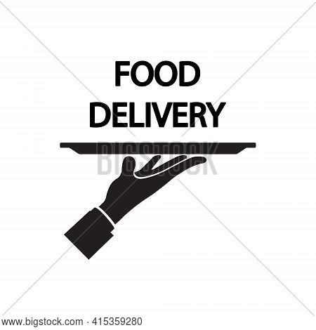 Waiter. Food Delivery Icon Design In Flat Style. Vector.