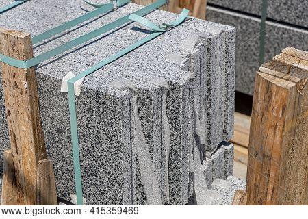 Granite Slabs Close-up. Paving Sidewolks And Finishing Buildings. Stack Of Granite Tiles