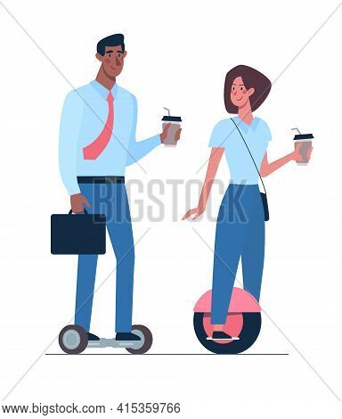 African Man And Girl Riding.on Gyroboards. A Couple Of Managers With Coffee In Their Hands Ride An E