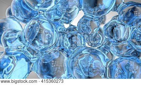 Liquid Background Of Transparent And Reflective Blue Spheres Merging With Each Other Like Bubbles Or