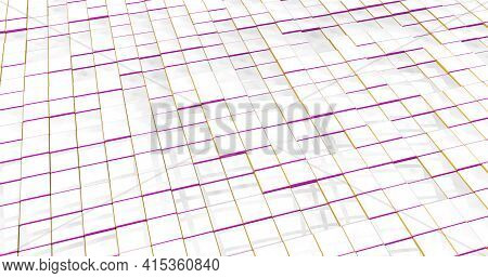 A Bit Messy Reflective White Checkered Textured Floor With Red And Yellow Edges. 3d Illustration