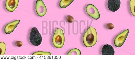 Pattern Of Fresh Ripe Green Avocados. Avocado Banner. Avocado Pieces, Slices And Halves Isolated On