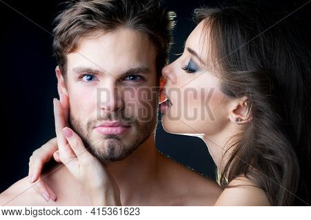 Tender Young Couple Kissing. Closeup Portrait Of Young Beautiful Sexual Couple Of Sexy Woman With Em