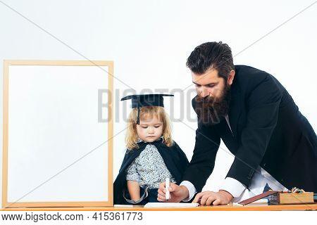 Man Professor And Genius Baby Writing Text