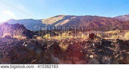 Mount Etna In Sicily Near Catania, Tallest Active Europe Volcano In Italy. Panoramic Wide View Of Th