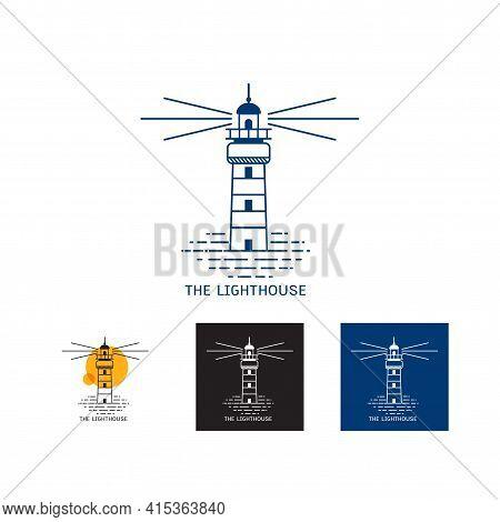 Set Of Minimal Lighthouse Logo Icon Template Vector Illustration Design, Creative Logo Line Art Ligh