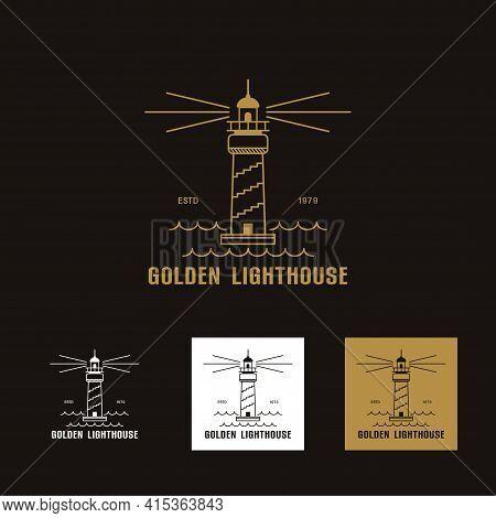 Set Of Luxury Gold Lighthouse Logo Icon Template Vector Illustration Design, Creative Logo Line Art